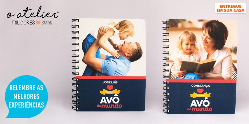 Notebook Personalizável c/ Foto e Nome para os Melhores Avós do Mundo | Entregue em Casa