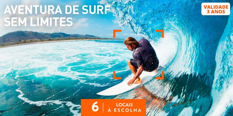 Aventura de Surf Sem Limites   6 Locais à Escolha