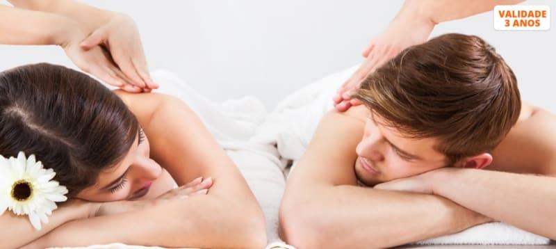 Massagem a Dois: Relax, Pedras Quentes, Pindas ou Velas + Chá   40 Min.   Moita