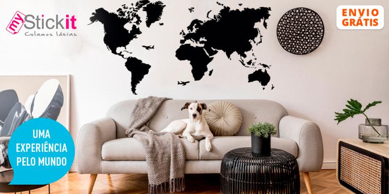 Mapa Mundo em Vinil Ardósia c/ Giz   Entrega Grátis! MyStickit