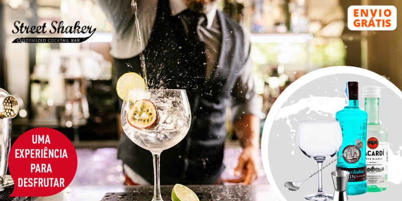 Workshop Online de Cocktails + Kit c/ Garrafas de Gin e Rum, Frasco, Medidor & Colher   Entrega Grátis