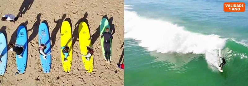 Aula de Surf - 1 ou 2 Pessoas   2h   Praia do Castelo   Caparica