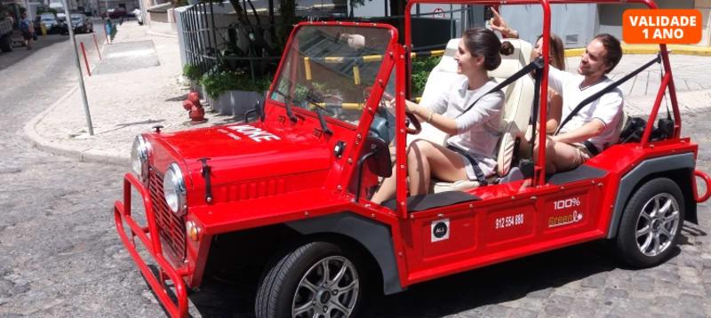 Passeio Turístico por Lisboa em Mini Moke + Brinde com Ginjinha | Até 3 Pessoas
