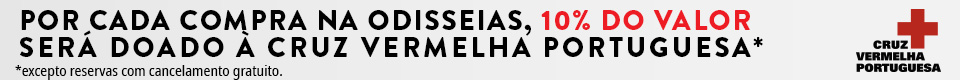 Por cada compra na Odisseias, 10% do valor será doado à Cruz Vermelha Portuguesa