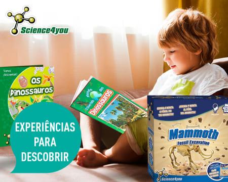 Conjunto Mundo dos Dinossauros Science4You - 2 Livros + Jogo Educativo | Entrega Grátis