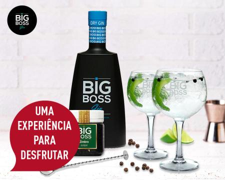 Kit para Fazer Gin em Casa! Entrega Grátis | 1 Garrafa Gin Big Boss Dry®, 6 Copos, 1 Especiaria e 2 Acessórios