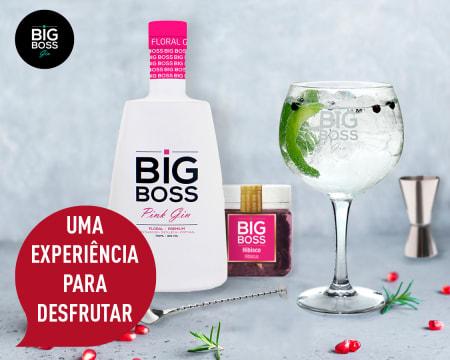 Kit para Fazer Gin em Casa! Entrega Grátis | 1 Garrafa Gin Big Boss Pink®, 6 Copos, 1 Especiaria e 2 Acessórios