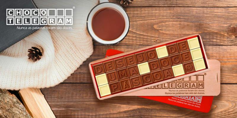 Chocolate c/ Mensagem Personalizada - 8 a 60 Quadrados   Nunca As Palavras Foram Tão Doces! ChocoTelegram