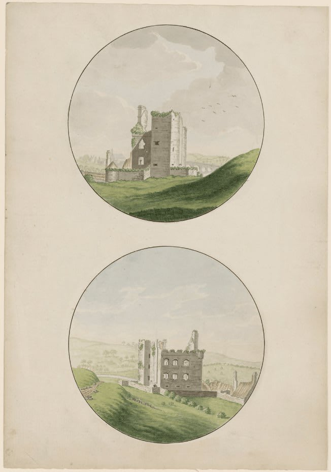 An old drawing of Tinnahinch Castle