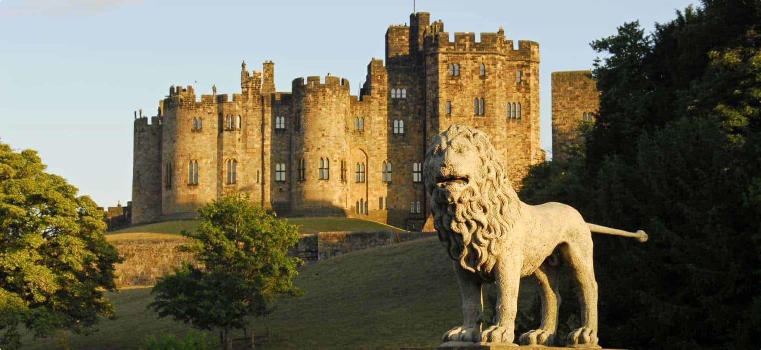 Alnwick Castle and the Lions Bridge England UK