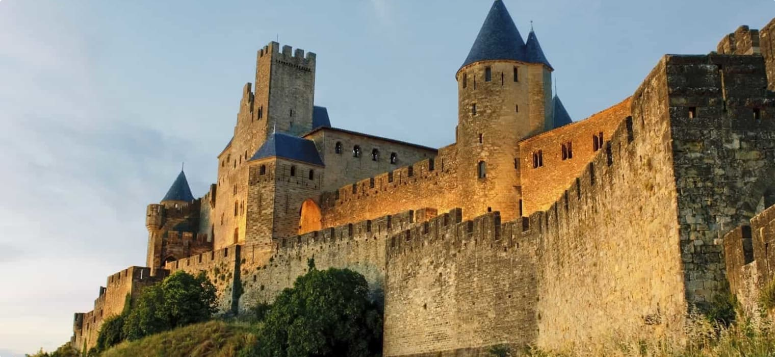 Carcassonne at sunset, France