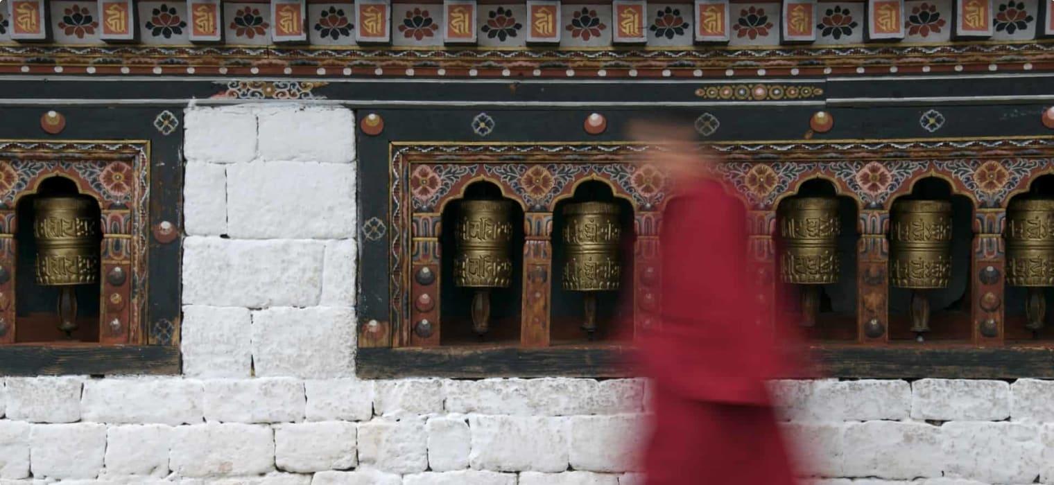 Paro, Bhutan, monk, prayer wheels