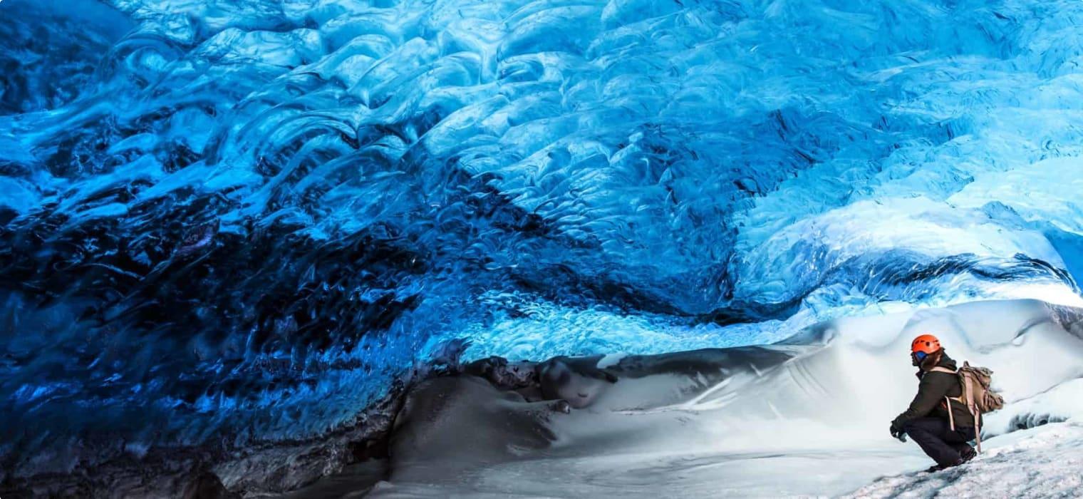 Iceland glacier ice cave