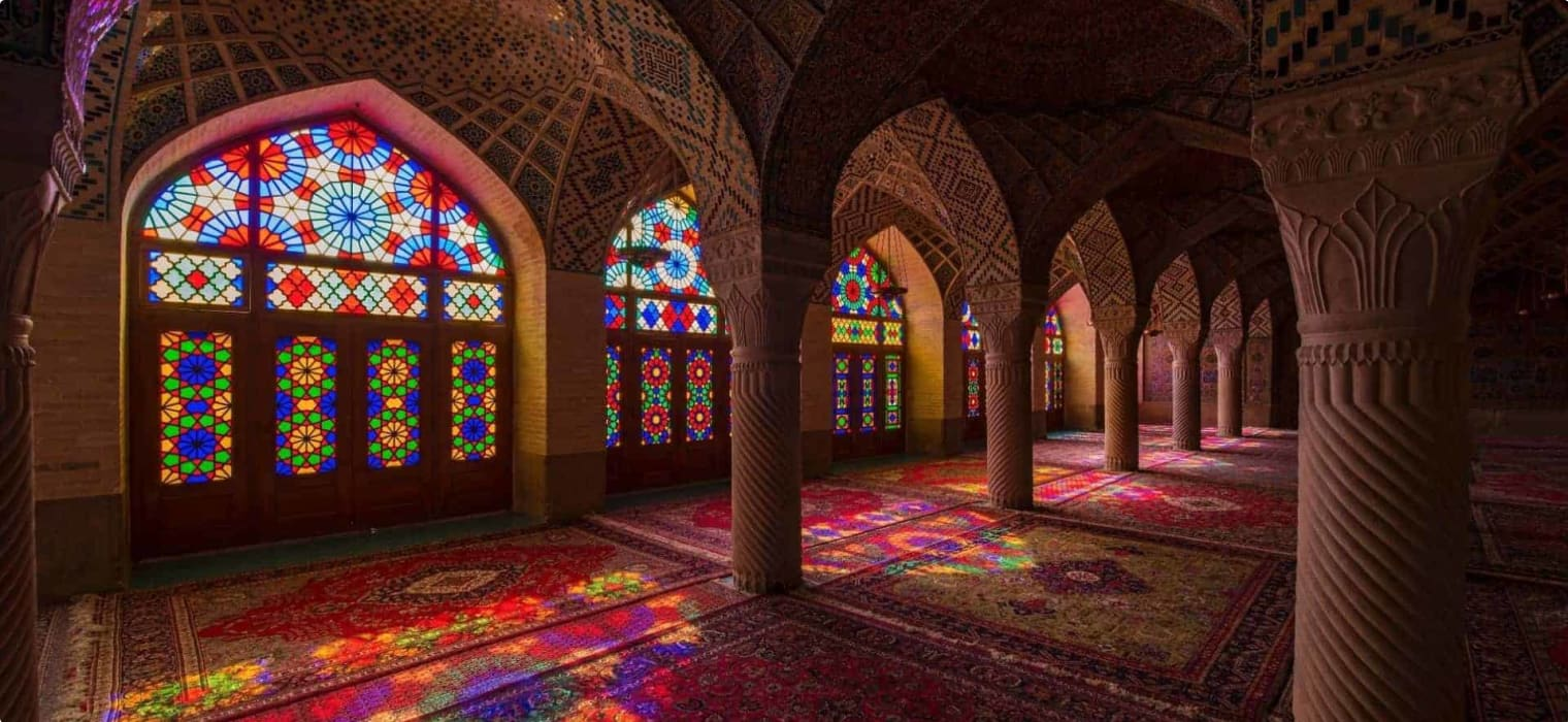 Inside the Pink Mosque, Shiraz, Iran