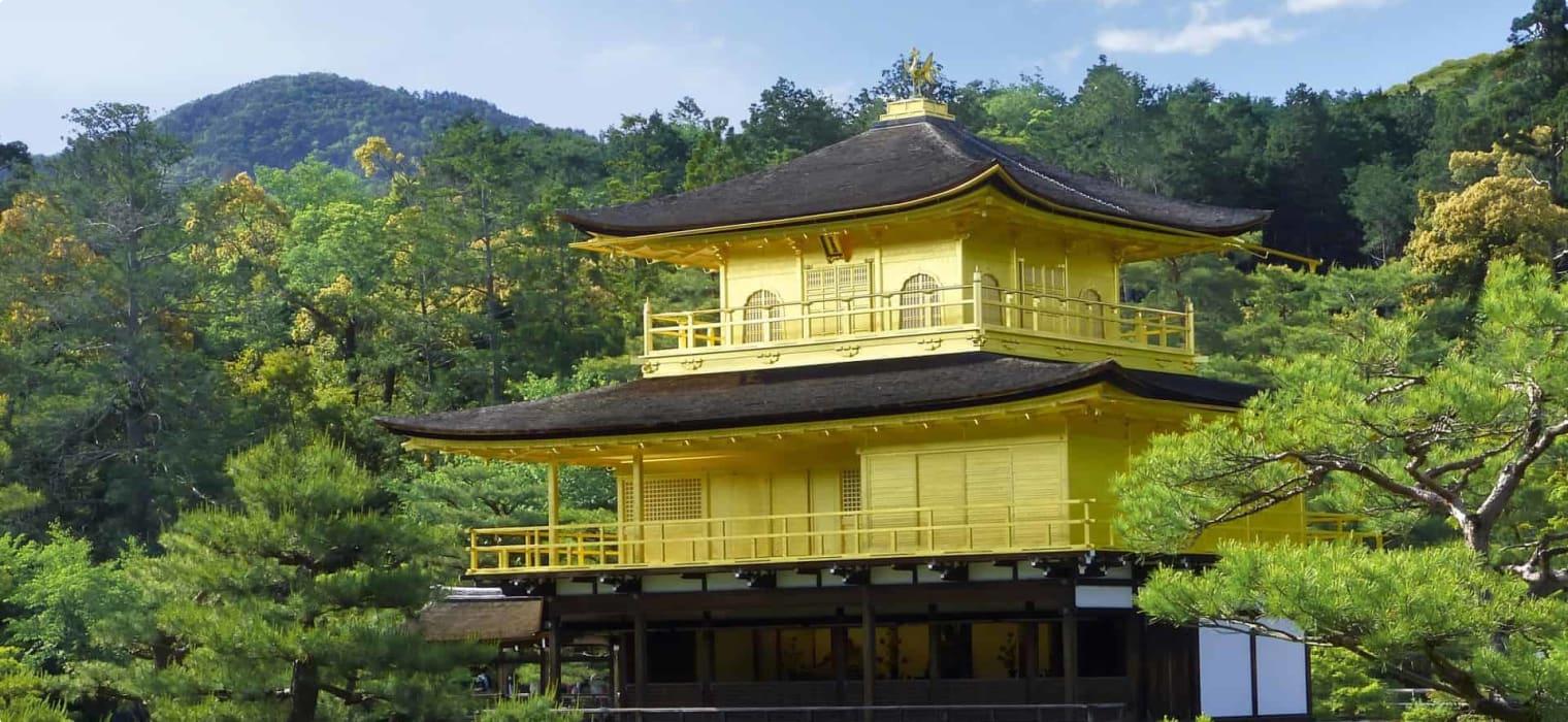 Kinkakuji (Golden Pavilion) in northern Kyoto. Formally known as Rokuonji, the temple was the retirement villa of the shogun Ashikaga Yoshimitsu