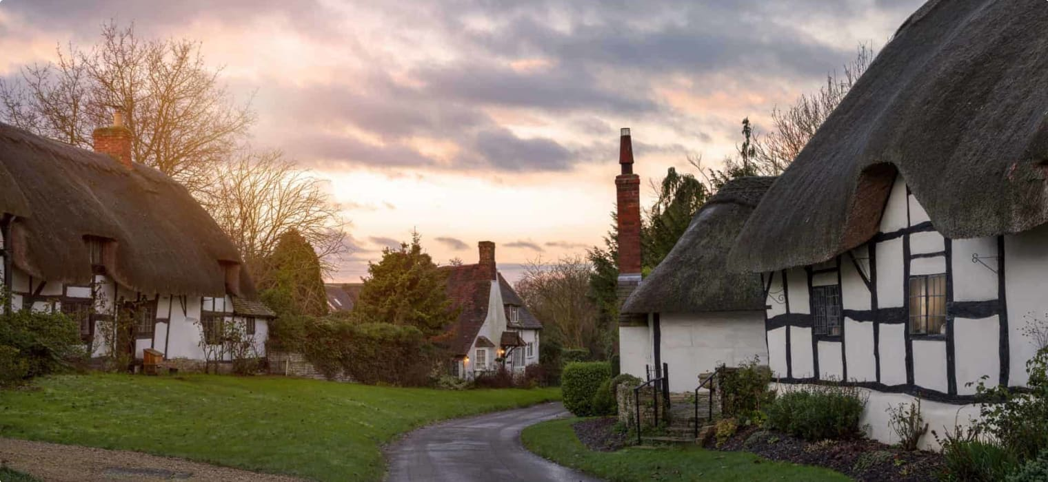 Thatched cottages at Welford on Avon, Warwickshire, England