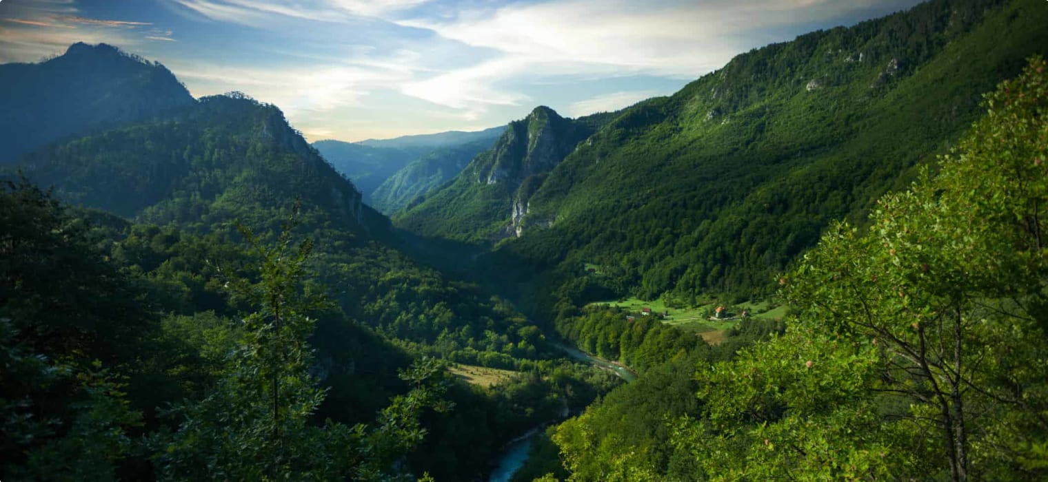 Sunset over Tara river canyon - second biggest canyon in the world and the biggest one in Europe in the Durmitor national park, Montenegro.