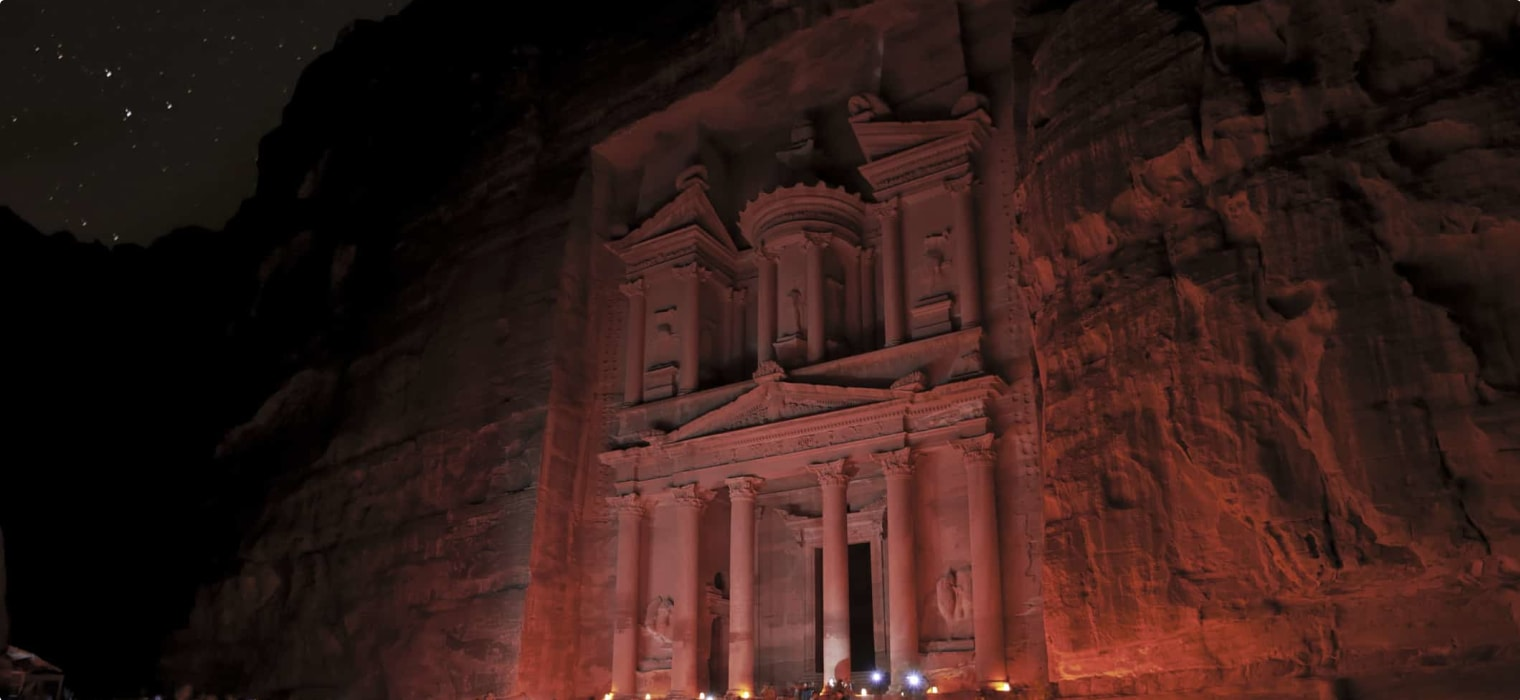 Petra historical sight by night