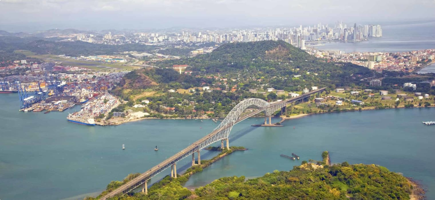 Aerial view; Bridge of the Americas, Panama