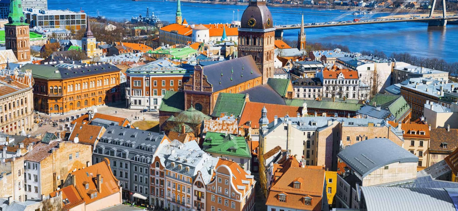 Panoramic view of the city of Riga, Latvia from the height of the tower Church of St. Peter.