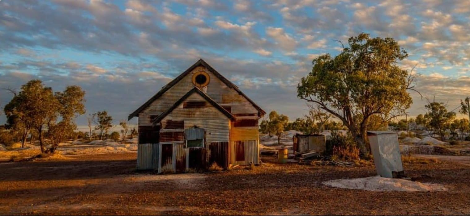 Rusty old corrugated iron church at Lightning Ridge, a small town in northern New South Wales,