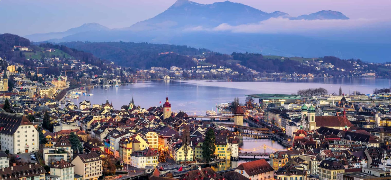 Lucerne town, Lake Lucerne and Rigi Mountain, Switzerland