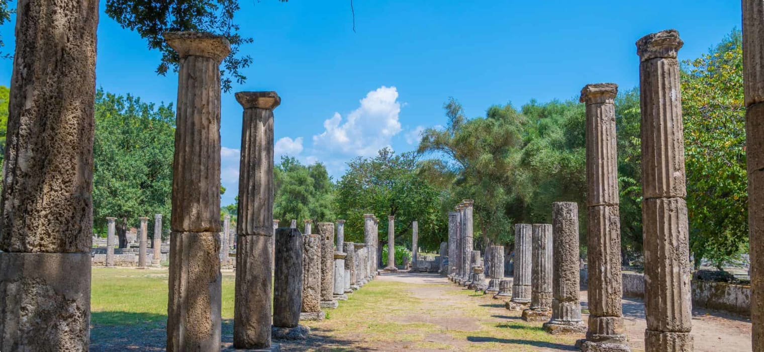 Archaeological site of ancient Olympia in Peloponnese, Greece