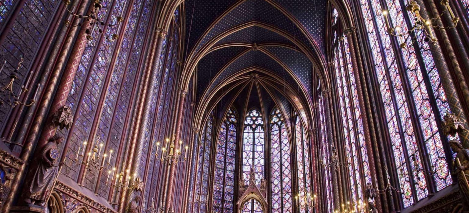 Saint Chapelle, Cathedral interior, France