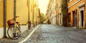 Heritage, culture, history of Italy, cobblestone street Rome