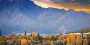 Panoramic view nature landscape in queen town remarkable and arrowtown south island New Zealand Walking tour
