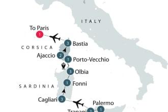 Malta, Sicily, Corsica map