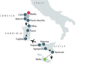 Map Malta Sardinia Corsica