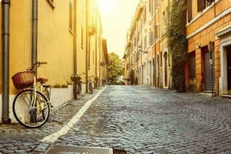 Winter in Rome, cobblestone street, Italy