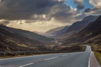Scotland Driving valley sea