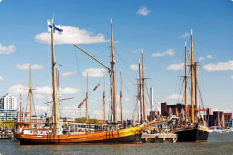 sailing ships in dock, Helsinki, Finland