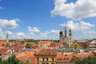 Zagreb rooftops cathedral