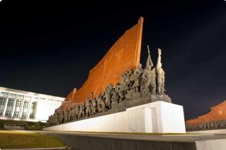 Statue in Pyongyang at night
