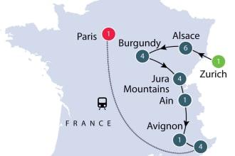 Provincial France tour map