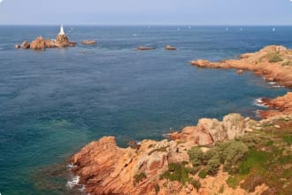 Corbiere Lighthouse and Rocky Coast, Jersey