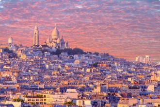 cityscape of Paris at sunset