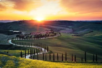 Val D'Orcia, Italy, Tuscany, Sunset