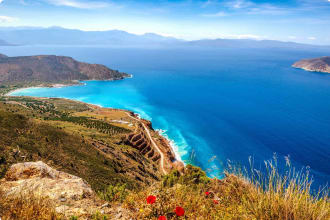 View of Mirabello Bay, Sitia, Crete, Greece