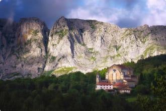 Urkiola sanctuary surrounding by mountains
