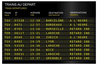 train station departure board delay, delayed. France, French Paris, gare de lyon