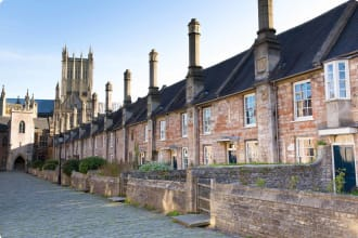 A view of Vicars Close in Wells, Somerset, England