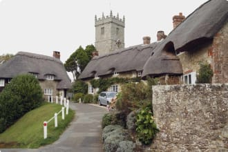 Thatched cottages on the Isle of Wight