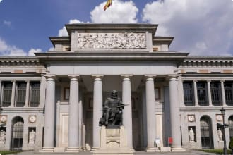 View of the entrance of the Prado Museum, Madrid, Spain