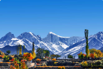 Springtime view of mountain peaks in the Hunza Valley, Pakistan