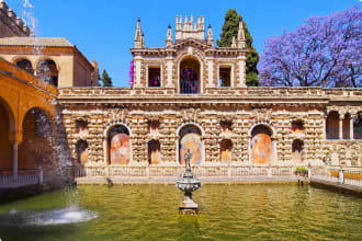 Fountains in the gardens of the Alcazar of Seville