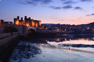 A picture of Conway Castle at dusk